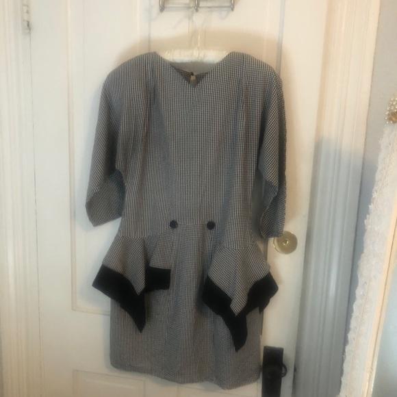 Vintage Dresses & Skirts - Vintage 90's Houndstooth 9-5 Party Dress